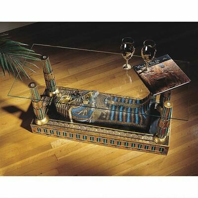 """Egyptian Art Luxor Sarcophagus of King Tut 18.5"""" Sculptural Glass-Topped Table"""