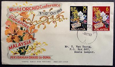 Malaysia 1963 'World Orchid Conference' First Day Cover (FDC)