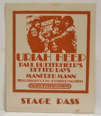URIAH HEEP / MANFRED MANN - VINTAGE ORIGINAL REAL 1970's BACKSTAGE PASS