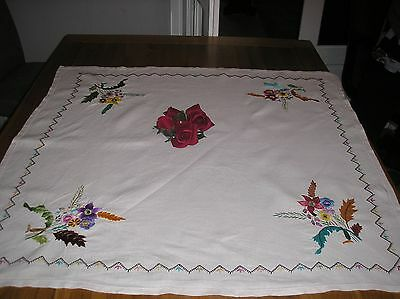 Vintage Beautiful White Linen  Hand Embroidered Table Cloth 33 X 33 Ins.