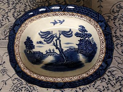 """Booth's Booths Real Old Willow rimmed oval vegetable dish bowl 8""""x10"""" 1921-1944*"""