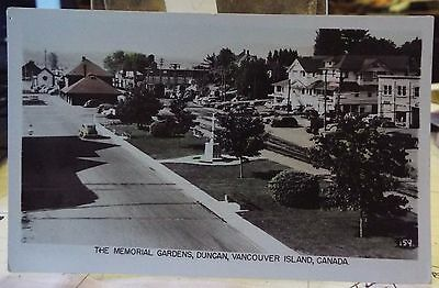 antique Postcard Real Photo The Memorial Gardens Duncan BC, colored B&W