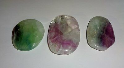3pc #1 Fluorite Worry Stone Natural Crystal Healing Gemstone Smooth Palm Stone