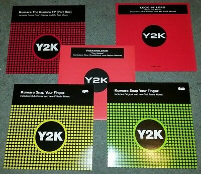 """5x Hard house/Trance 12"""" vinyl records from Y2K Label."""