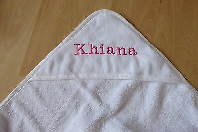 Personalised Name + Date Embroidered Baby Hooded Bath Towel White Pink Blue Gift