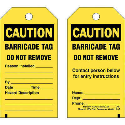 BRADY Polyester Caution Tag,5-3/4in. H x 3in. W,Pe,PK25, 132421