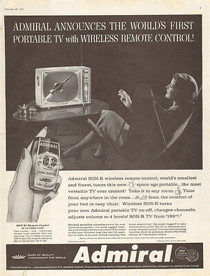 1959 vintage Television AD ADMIRAL Portable TV Wireless Remote Control 092416