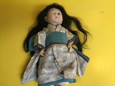 "Vintage Ichimatsu Gofun Japanese 14"" doll - Posable legs and arms -"