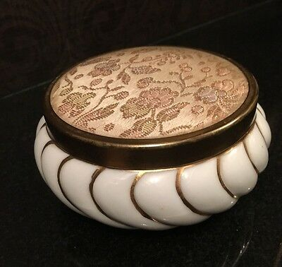 NWT Vintage MATSON Signed Porcelain Powder Box Jar Hand Painted Gold Vanity