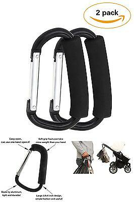 2 Pack X-Large Stroller Hook Set For Mommy By Jinsey. Two Great Organizer Access