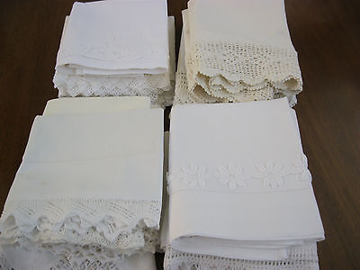 Fabulous Lot Of *20* Vintage Embroidered/crochet Pillowcases-All White On White