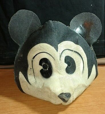 Vintage Molded Gauze Fabric Mickey Mouse Halloween Mask