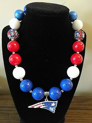 Kid's Chunky Beaded Necklace - New England Patriots