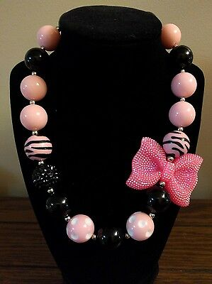 Kid's Chunky Beaded Necklace - Pink Bow Zebra