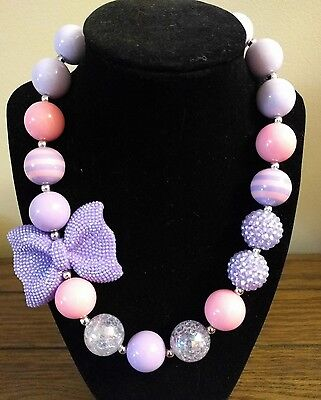 Kid's Chunky Beaded Necklace - Lavender Bow with pink