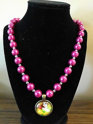 Kid's Hot Pink Pearl design Beaded Necklace - with Belle glass dome pendant