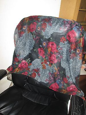 Vintage Black Silk Head Scarf Lace Roses & Mixed Flowers Rolled Hem Very Pretty