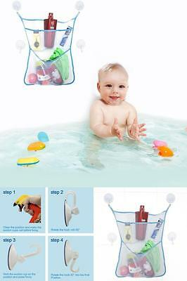 Baby Bath Tidy Play Time Toy Storage Net Dry Bag Bathtub Lock Suction Cups