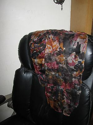 Vintage Abstract Multi Colors Silk Blend Long Scarf Painted Gold Accents