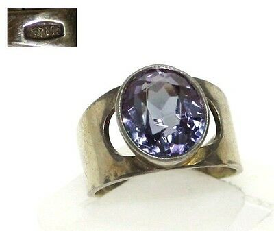 Vintage silver RING 875 star stamp gold plated stone AMETHYST SIZE 7 USSR 5.75 g