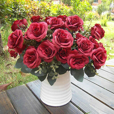12 Head Red Artificial Fake Rose Silk Flower Wedding Party Bridal Bouquet Decor
