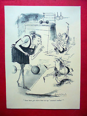 1956 ronald searle st. trinian`s cartoon picture of `unarmed combat,`