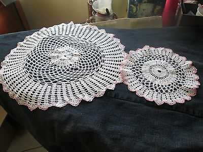 Hand Crocheted 2 White & Pink Round Doilies 1 Large 1 Small