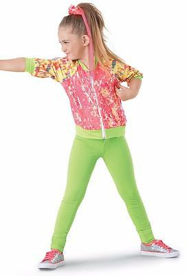 Dance Costume Large Child Neon Lime Orange Hip Hop Jazz Solo Competition Pageant