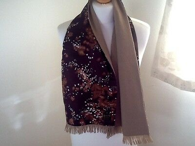 Vintage mens scooter scarf Duggie Imperial Tricel and wool brown/ tan reversible