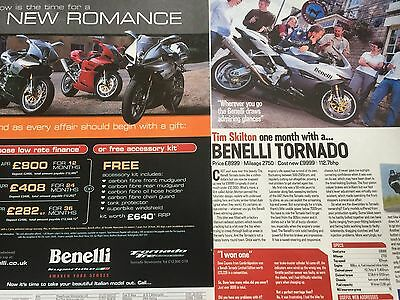 Benelli Tornado - Original A4 Motorcycle Advert + A4 Article