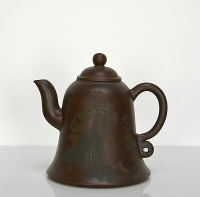 Vintage Chinese Yixing Zisha Color Figure Bell Form Purple Clay Teapot with Mark