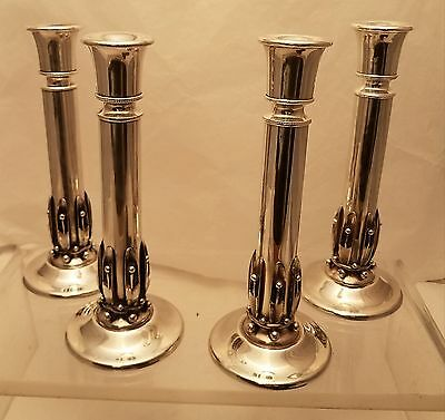 Set of 4 Sterling Silver Jensen Style Candle Sticks