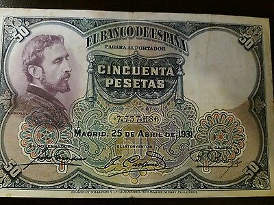 billete de 50 ptas de 1931