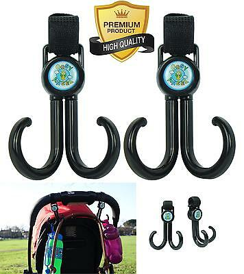 Best Stroller Hook Set. X Large Buggy Accessory Clips For Mommy. Double Hanger,