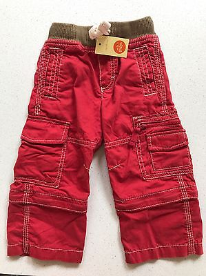 BNWT Boys MINI BODEN Red Rib Waist Zip Off Cargo Trousers / Shorts Age 2yrs