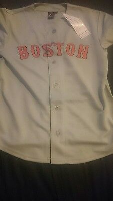 Majestic Grey Boston  Red Sox Major League Baseball Jersey Top Medium Mens