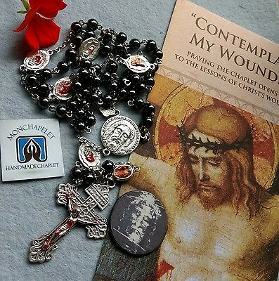 Dominican Rosary of the Holy Wounds with Holy Face hematite with prayers