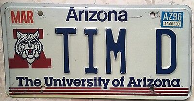 Vanity University Arizona TIM TIMOTHY D license plate Tiger Timmy AZ 1996 Tucson