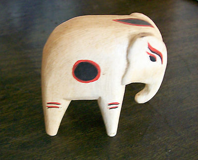 Vintage  Primitive Hand Carved  Elephant Mid Century Light Ash? Wood Figurine