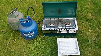 Gelert double burner camping stove with grill