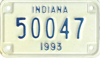 Indiana 1993 Mototcycle License Plate -- 50047