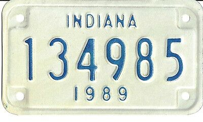 Indiana 1989 Mototcycle License Plate -- 134985