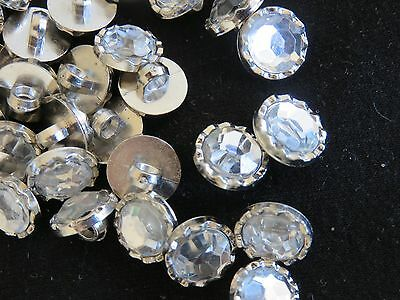 12 SILVER & Diamante round resin buttons with shank 11.35 mm