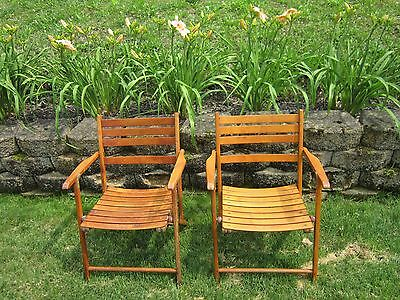Vintage Antique Wooden Folding Chairs Set of 2 Pair Wood Seats chair