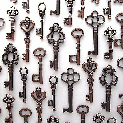 48 Pcs Assorted Vintage Antique Skeleton Furniture Cabinet Lock Key Charm Copper