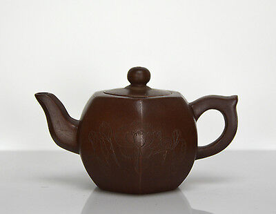 Vintage Chinese Yixing Zisha Carved Lotus & Bamboo Purple Clay Teapot with Mark