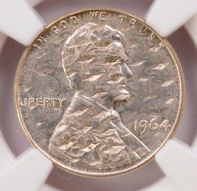 NGC 1c 1964 Lincoln Cent Struck on Cancelled India 1/4 Rupee MS-61