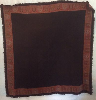 "Paisley Shawl Antique Piano Shawl Black Center 66"" Square"