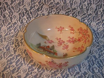 Antique Japanese Satsuma Lobed Scenic Bowl