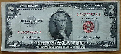 USA $2 Two Dollar United States Note 1953c Series Circulated- Free UK Postage